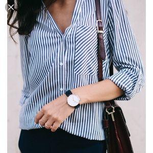 Zara Blue & White Striped Shirt With Pockets